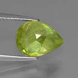 3.09 ct Pear Facet Golden Green Sphene Gem 10.53 mm x 8.1 mm (Photo C)
