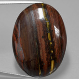 thumb image of 36.9ct Oval Cabochon Multicolor Tiger's Eye Matrix (ID: 405783)