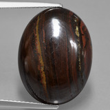 thumb image of 17.6ct Oval Cabochon Multicolor Tiger's Eye Matrix (ID: 406118)