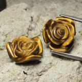 thumb image of 20.9ct Carved Rose with Half Drilled Hole Gold Brown Tiger's Eye (ID: 323298)
