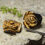 thumb image of 20.2ct Carved Rose with Half Drilled Hole Gold Brown Tiger's Eye (ID: 323299)