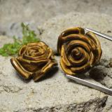 thumb image of 23.6ct Carved Rose with Half Drilled Hole Gold Brown Tiger's Eye (ID: 323445)