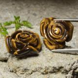 thumb image of 23.8ct Carved Rose with Half Drilled Hole Gold Brown Tiger's Eye (ID: 323446)