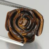 thumb image of 12.1ct Carved Rose with Half Drilled Hole Gold Brown Tiger's Eye (ID: 328604)