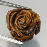 thumb image of 11.4ct Carved Rose with Half Drilled Hole Gold Brown Tiger's Eye (ID: 328606)
