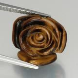 thumb image of 11.6ct Carved Rose with Half Drilled Hole Gold Brown Tiger's Eye (ID: 328607)