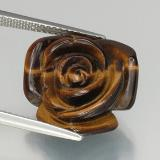 thumb image of 11.1ct Carved Rose with Half Drilled Hole Gold Brown Tiger's Eye (ID: 328610)