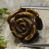 thumb image of 13ct Carved Rose with Half Drilled Hole Gold Brown Tiger's Eye (ID: 328614)