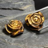 thumb image of 22.2ct Carved Rose with Hole Gold Brown Tiger's Eye (ID: 343444)