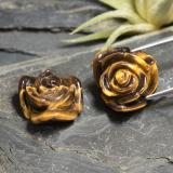 thumb image of 24.3ct Carved Rose with Half Drilled Hole Gold Brown Tiger's Eye (ID: 343456)