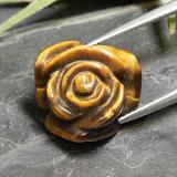 thumb image of 10.9ct Carved Rose with Half Drilled Hole Gold Brown Tiger's Eye (ID: 343457)