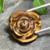 thumb image of 11.1ct Carved Rose with Half Drilled Hole Gold Brown Tiger's Eye (ID: 343462)