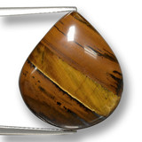 thumb image of 23.7ct Pear Cabochon Gold Brown Tiger's Eye (ID: 461844)