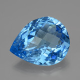 thumb image of 46.4ct Pear Checkerboard Swiss Blue Topaz (ID: 419460)