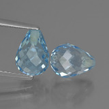 thumb image of 5.3ct Briolette with Hole Swiss Blue Topaz (ID: 426956)